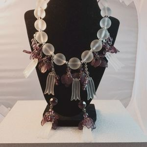 Frosted acrylic statement necklace & earrings